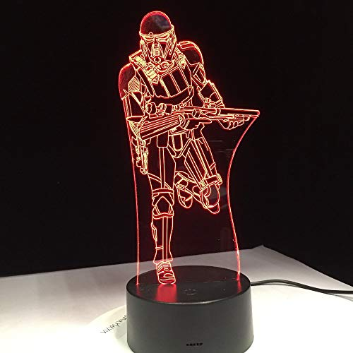 Knight Warrior Figure Toy 3D Lámpara de mesa Kids Toy Gift Night Light RC Clone Force Gradient Illusion LED USB XW-Night Light1111