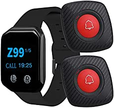 Wireless Calling System Waiter Pagers,BYHUBYENG Wrist Pager Watches with 2 Call Buttons Transmitter 1 Pager Wireless Calling Watch Receiver for Restaurant Food Court Truck Cafe Shop(B-BR-2)