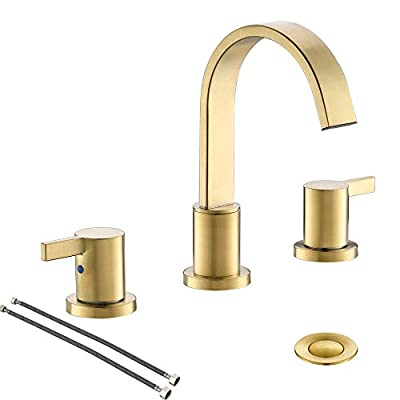 8 inch 2 Handle Waterfall Widespread Brushed Gold Bathroom Sink Faucet with Metal Pop-Up Drain by PHIESTINA, WF040-1-BG