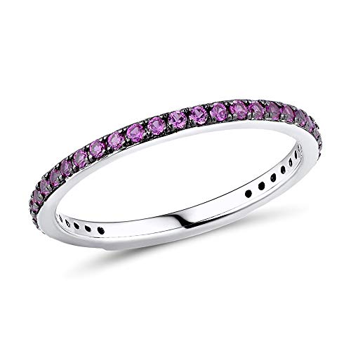 Namana Skinny Sterling Silver Band Ring for Women. Red Rings for Women Set with Ruby Red Cubic Zirconia Gemstones. Size M 925 Sterling Silver Rings for Women With Red Stones