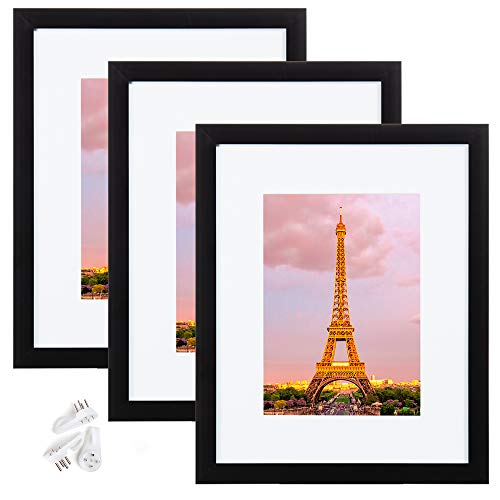 upsimples 8x10 Picture Frame Set of 3,Made of High Definition Glass for 5x7 with Mat or 8x10 Without Mat,Wall Mounting Photo Frame Black