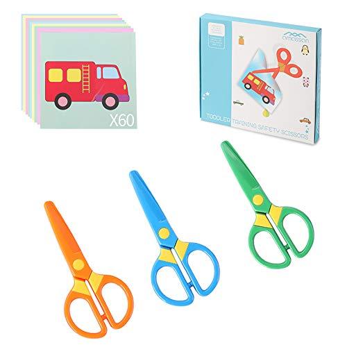Plastic Safety Scissors, Toddlers Training Scissors, Pre-school Training Scissors and Offices Scissors (3pcs) Kids Paper-Cut (60 Sheets)