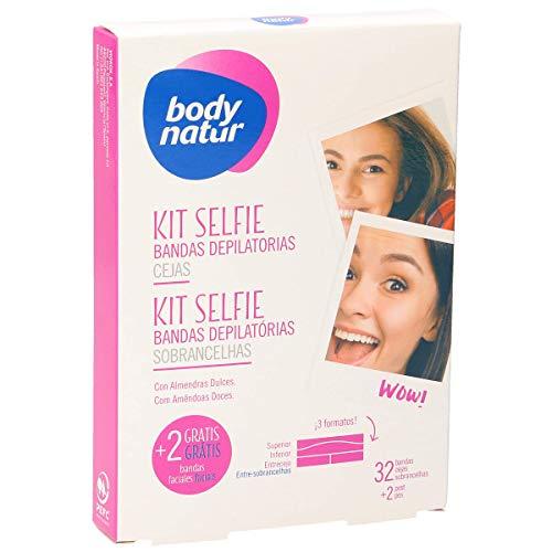 BODY NATUR Kit selfie bandas de cera depilatorias cejas caja 32 uds