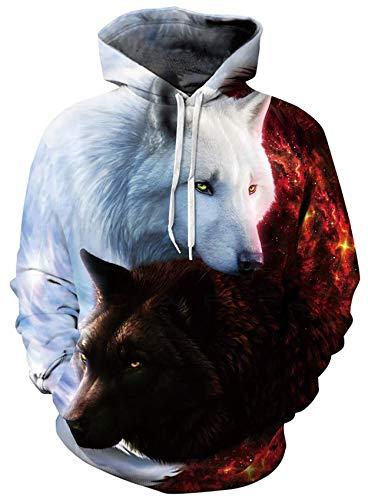 Loveternal Wolf Pullover Unisex Kapuzenpullover 3D Druck Hoodie Herren Langarm Fleece Sweatshirt für Teen Jungen Mädchen L