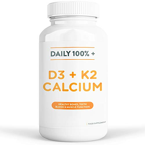 Calcium, K2 & Vitamin D3 Supplement | 100% Daily Intake | Aids Bone, Teeth & Immune System Health | 120 Tablets