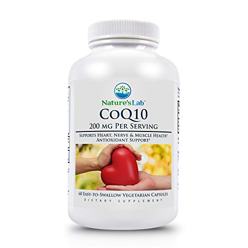 Nature's Lab 200mg Coq10-60Count (2 Month Supply) Supports Heart Nerve & Muscle Health antioxidant Support Nutritional Supplement