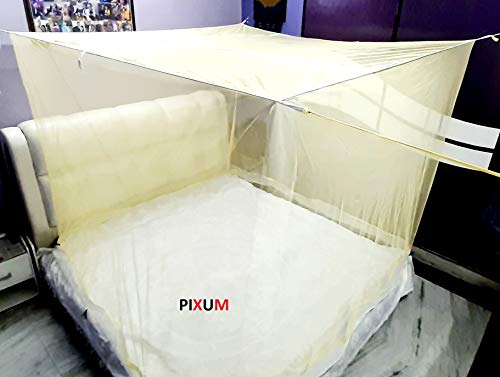 Pixum King Size Traditional Poly Cotton Mosquito Net | Suitable for Double Bed ( Ivory )