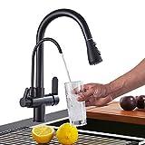 Onyzpily Schwarz Reines Wasser Küchenarmatur mit ausziehbar Doppelgriff Heißes und kaltes Trinkwasser 3-Wege-Filter Küchenmischbatterien Filtersystem nicht einschließen