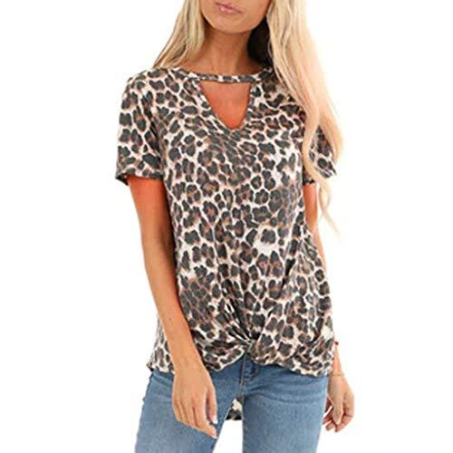 Briskorry Damen Kurzarm T-Shirt Sommer Sexy V-Ausschnitt Leopardenmuster Tops Schulterfrei Casual Lose Elegant Blusen