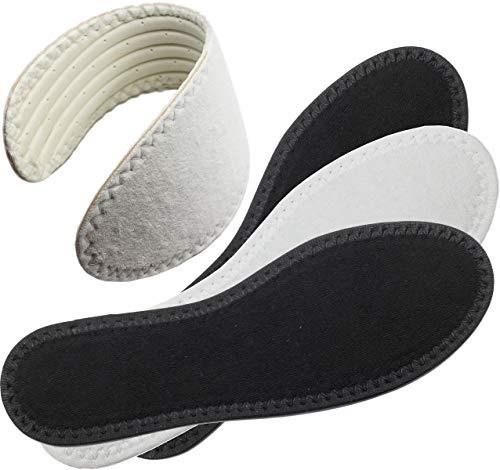 ワイエルワイ 中綿のタオル表層の、柔らかい、汗を吸収し、防臭する超薄い靴の下敷き 22.3×7.5cm, 黒と白一つずつ
