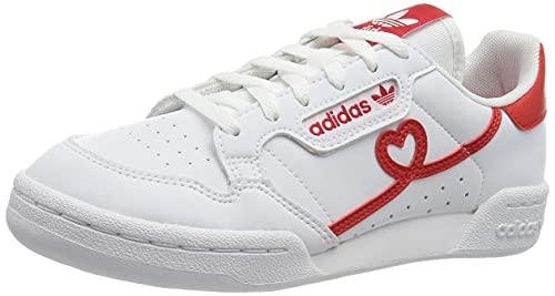 adidas Continental 80 J, Scarpe da Ginnastica, Ftwr White/Vivid Red/Ftwr White, 36 2/3 EU