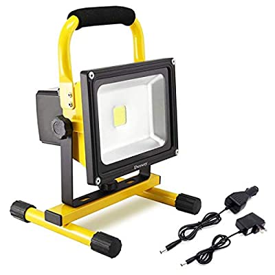 Dersoy 50W 4000LM LED Work Lights Rechargeable, Battery Work Lights, Portable Flood Light IP65 Waterproof Emergency Light, with Balance Stand for Outdoor Lighting/Hunting/Camping/Hiking/Car Repairing