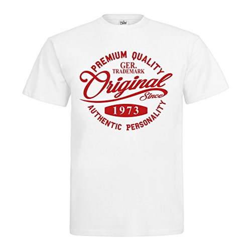 MDMA T-Shirt Original Since 1973 Handwriting Premium Quality Textil white / Motiv rot Gr. L