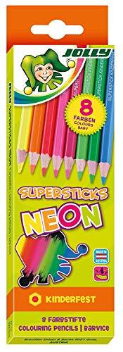 Jolly Superstick Neon Buntstifte Farbstifte | Kinderfest und Bruchsicher | Ungiftig | extra dicke Mine | 8 Stifte im Kartonetui