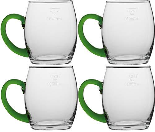 Novaliv 4X Weinseidel mit grünem Henkel 250 ml Weinglas geeicht Glas Weißweinglas Glühweingläser Glühweintasse Punchgläser Teegläser mit Henkel Schorleglas