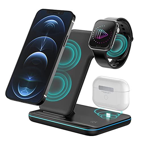 POWERGIANT Cargador iwatch, 3 en 1 Cargador Inalámbrico Rápida Base Cargador iPhone y Apple Watch, para iPhone12 Pro MAX y Samsung Galaxy S10 S9 A70 y iWatch Series 6/5/4/3/2 Airpord 1 2 Pro