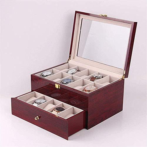 Caja de reloj de pintura de piano de alto grado Caja de reloj de pintura de doble capa Caja de madera 20 ranuras Caja de almacenamiento de reloj