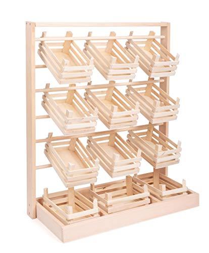 small foot 7035 Verkaufsstand aus Holz, großer Stand mit zwölf leeren Kisten, schöne und stabile Ausführung, ab 3 Jahren