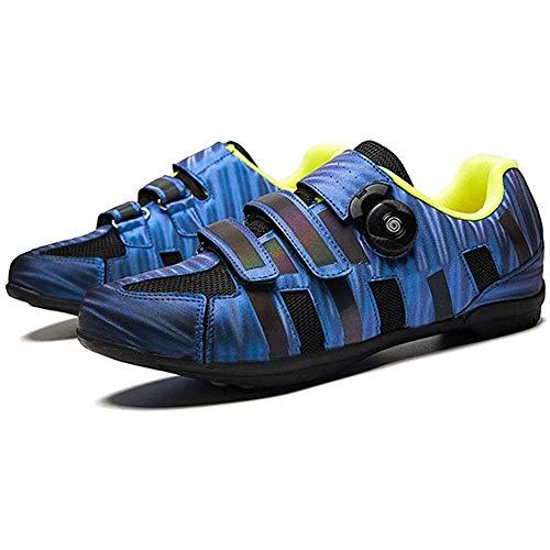 BHHT Zapatillas De Ciclismo MTB para Hombre Zapatillas De Bicicleta De Carretera Transpirables Zapato Giratorio con Almohadilla Interna Suave Antideslizante (Color : Blue, Size : 42)