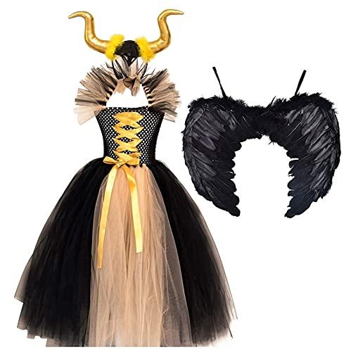 Disfraz de Princesa Maléfica para Disfraz de Hada y Reina Malvada Hecha a Mano con Tutú de Tul Sin Mangas de Bruja Malvada para Halloween, Navidad, Carnaval, Fiesta ( Color : Yellow , Size : 10-12Y )