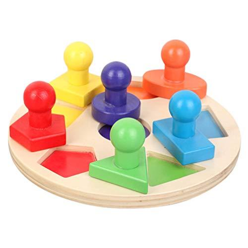 NUOBESTY Bloques de Geometría con Pomos Juguete Educativo de Madera Montessori Juguetes para El Hogar Los Sentidos del Desarrollo Temprano