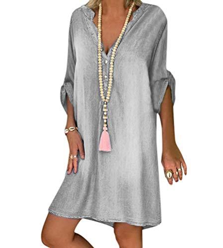 Tomwell Jeanskleid Sommerkleid Damen Jeans Kleider V-Ausschnitt Kurzarm Strandkleider Einfarbig A-Linie Kleid Boho Knielang Kleid Denimkleid Tunika Hemd Blusenkleid Grau XL