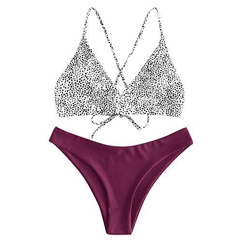 ZAFUL zweiteilig Bikini-Set mit,Sexy Spaghettiträger Gepolsterter Badeanzug mit High Cut Bikini mit Leopardenmuster (Violett-L)