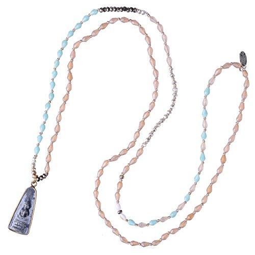 C·QUAN CHI Collier Pendentif Bouddha Shakyamuni Collier De Perles De Cristal Fait Main Collier Amitié Collier à Longue Chaîne Cadeau De Bijoux pour Les Femmes Filles