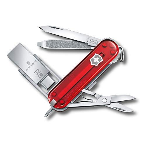 Victorinox Taschenmesser @Work (8 Funktionen, Klinge, USB Stick 32GB, Schere), rot transparent