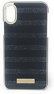 Kate Spade New York Glitter Stripe Black Saffiano/Silver Glitter iPhone X Wrap Case