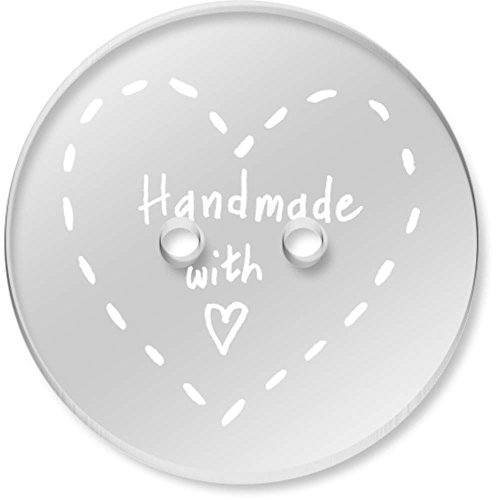 8 x 23mm ''Handmade With Love'' Round Clear Acrylic Buttons (BT00037760)