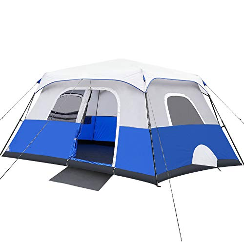 Camping Tent, 8/10 Person Instant Cabin Tent, Easy Setup in 60 Seconds, Weatherproof Family Tent for Camping, Outdoors & Travel, with Ventilated Windows and Separated Room