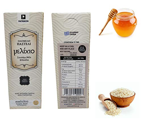 Greek Handmade Traditional Pasteli Snack Bar with Sesame Seeds, Honey and Cinnamon. Net Weight 720g. Multipack of 12 Boxes (12x60g)