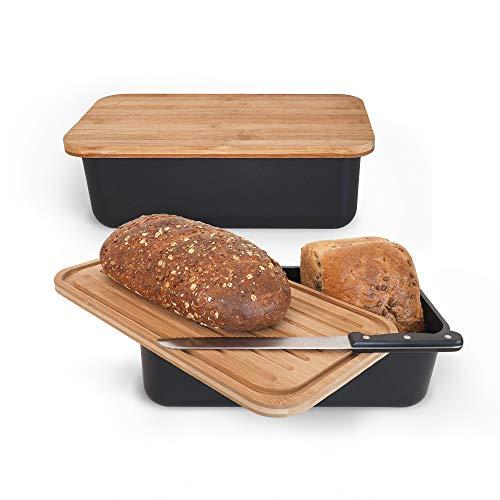 Gadgy Brotkasten Bambus | Brotdose mit Schneidebrett und Deckel aus Massivem Bambus | Luftdicht zum Frischhalten von Brot | BPA-frei | Mit Anti-Rutsch-Füßen | 36 x 19,5 x 11,5 cm