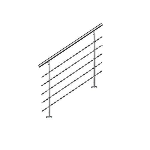 SAILUN 150cm pasamanos barandillas acero inoxidable con 5 postes parapeto,para escaleras,barandilla,balcón