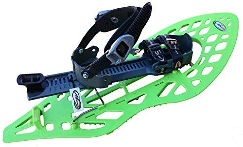 MORPHO 13MHRAQVDLA ECOGB - Racchette da Neve da Adulto Supermorphoalp Light con Cinturino Caviglia a Doppia Fibbia Stile Snowboard, Senza Imbottitura, Misura Media, Colore: Verde Grigio