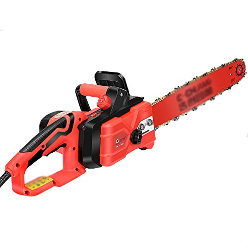 IRi 16-Inch Electric Chainsaw, Wood Cutter Machine with Automatic Chain, Chain Saw with Auto Oiler-Soft-Touch Grip and Hand Guard, red