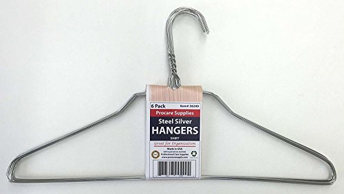 ProCare 6 Strong Silver Color Galvanized Metal Wire Shirt Hangers 16 Inch 13 Gauge