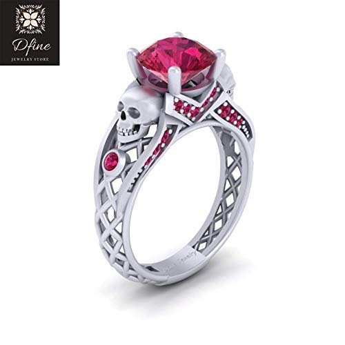 Gothic Spooky Skull Engagement Ring Pink Ruby Criss Cross Mesh Skull Ring Sterling Silver US SIZE 5.25