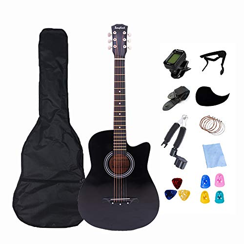 38 inch Acoustic Guitar Rosefinch Basswood Folk Guitar for Beginner Adults & Teens Guitar Beginner kits with tuner Bag Pick Capo Winder (Black)