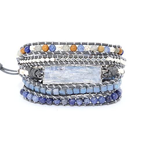 WLLLTY Ladies Bracelet Blue Gemstone Bracelet Gem Charm 5 Strand Wrap Bracelet Jewelry Lady Bracelet Gift