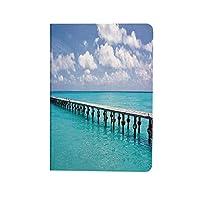 ビーチ 人気 ipad air4 2020ケース ipad 10.9インチ カバー 晴れた日の熱帯沿岸テーマイメージ 手帳型 ブック型 おしゃれ PUレザー 軽量 角度調節可 ターコイズブルーホワイトの明確な空の海でアヒル