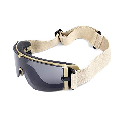 Balística X800 ejército gafas de seguridad 3 kit de lentes gafas de sol militares visión nocturna anit-UV combate guerra juego Eyeshields con estuche (negro)