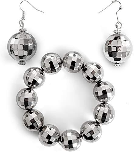 Skeleteen Disco Ball Jewelry Set - 1970s Silver Diva Mirror Balls Costume Bracelet and Earrings Rave Accessories Set for Women and Girls