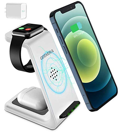 Wireless Charging Stand, GEEKERA 3 in 1 Wireless Charger Dock Station for Apple Watch 6 SE 5 4 3 2, Airpods 2/Pro, iPhone 12/12 Pro/12 Pro Max/ 11/11 Pro/X Qi-Certified Phones White