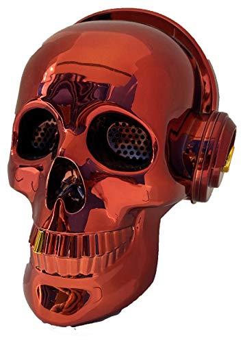 Altavoz Calavera Skull Bluetooth portatil, Tarjeta SD, Pendrive USB, Auxiliar, con Soporte para apoyar el móvil. Bluetooth Skull Speaker (Rojo)