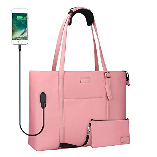USB Laptop Tote Bag,Chomeiu Woman 15.6 inch Laptop Organizer Bag Teacher Work Purse (Pink)