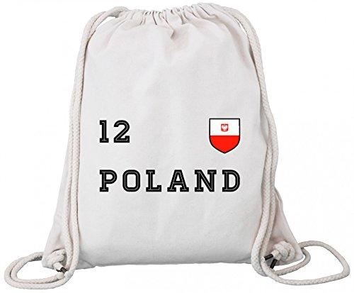 ShirtStreet Polska Poland Fußball WM Fanfest Gruppen Premium Bio Baumwoll Turnbeutel Rucksack Stanley Stella Trikot Polen, Größe: onesize,Natural