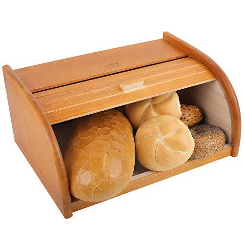 Creative Home Grande Panera Contenedor para Pan de Madera | 40 x 27,5 x 18,5 cm | Madera de Haya Natural con Laca Color Aliso | Recipiente con Tapa Enrollada para Guardar Bollos Alimentos Secos
