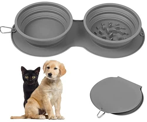 Crea DOUBLE-Cuenco Portátil Doble Plegable para Mascotas Perros Gatos Silicona Alimentaria con Mosquetón de Viaje